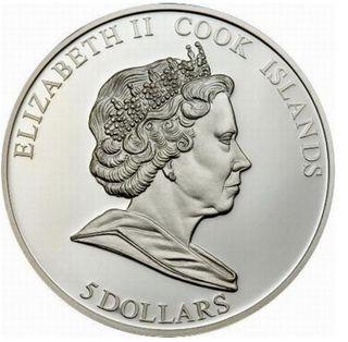 クック諸島の隕石カラー銀貨の写真画像(ロシア)裏面